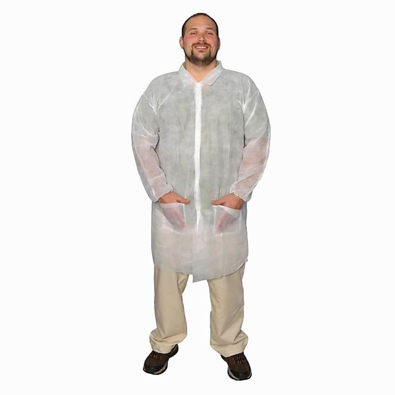 Cleanroom Disposable Lightweight Polypropylene Lab Coat, White, X-Large, 50 per Case