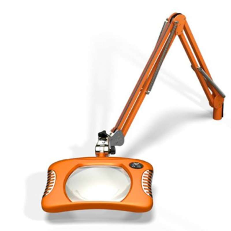 """Green-Lite™ ESD-Safe 4-Diopter LED Magnifier with 43"""" Reach and Screw Down Base, Brilliant Orange"""