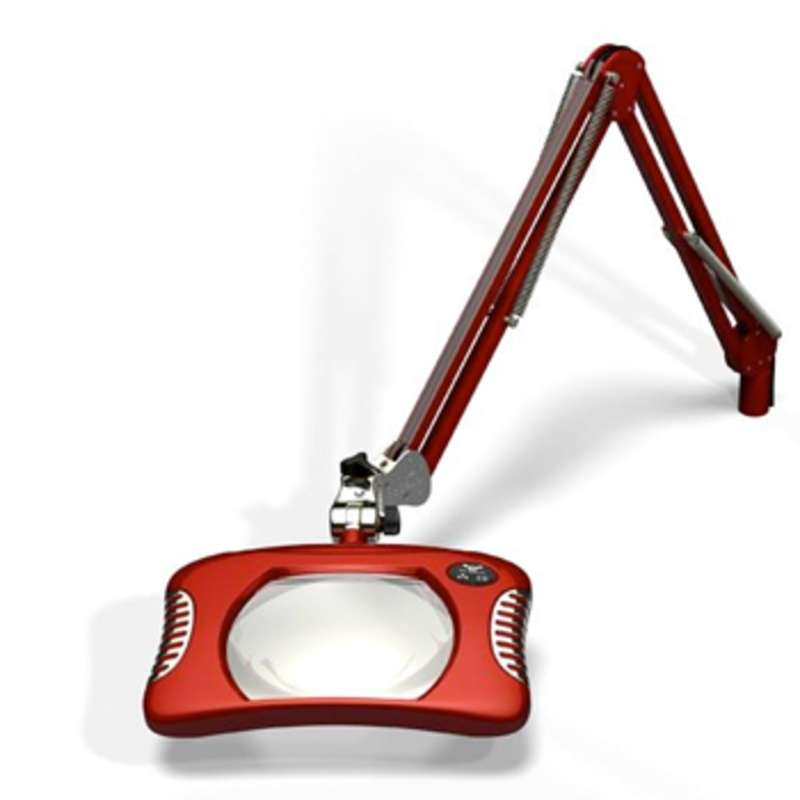 """Green-Lite™ ESD-Safe 4-Diopter LED Magnifier with 43"""" Reach and Clamp Base, Blaze Red"""
