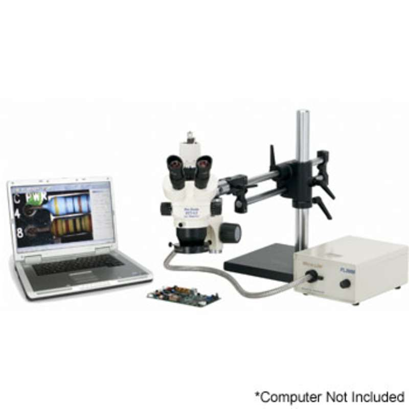 "Pro-Zoom™ 6.5 ESD-Safe Ultimate Digital Trinocular Microscope with Dual Arm 16""H Base and Fiber Optic Annular Ring Light"