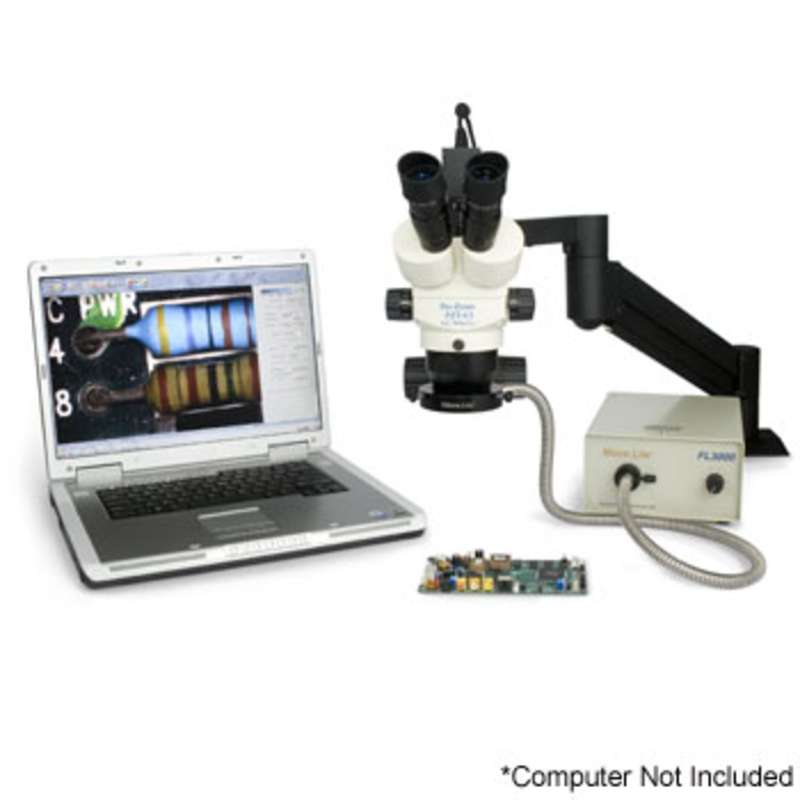 "Pro-Zoom™ 6.5 ESD-Safe Ultimate Digital Trinocular Microscope with Dual Arm 16""H Base (No Ring Light)"