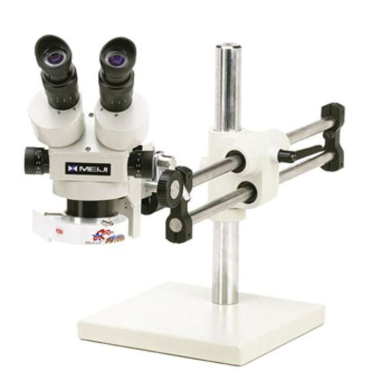 ESD-Safe Stereo-Zoom Microscope with Boom Stand and Fluorescent Ring Illuminator