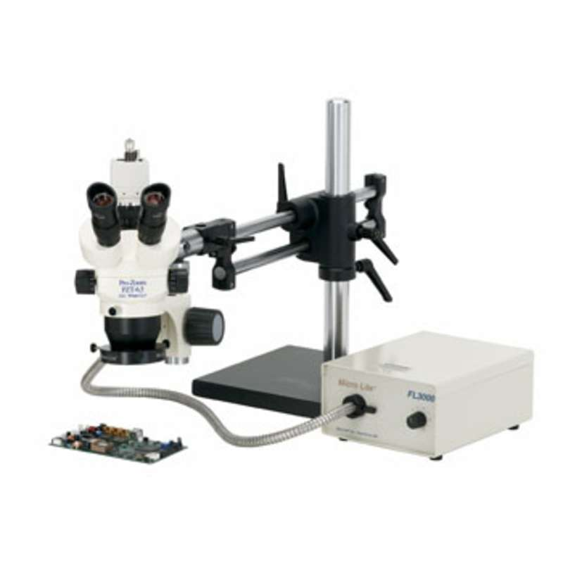 Pro-Zoom™ 6.5 ESD-Safe Binocular Microscope with Dual Arm Base and Fiber Optic Annular Light