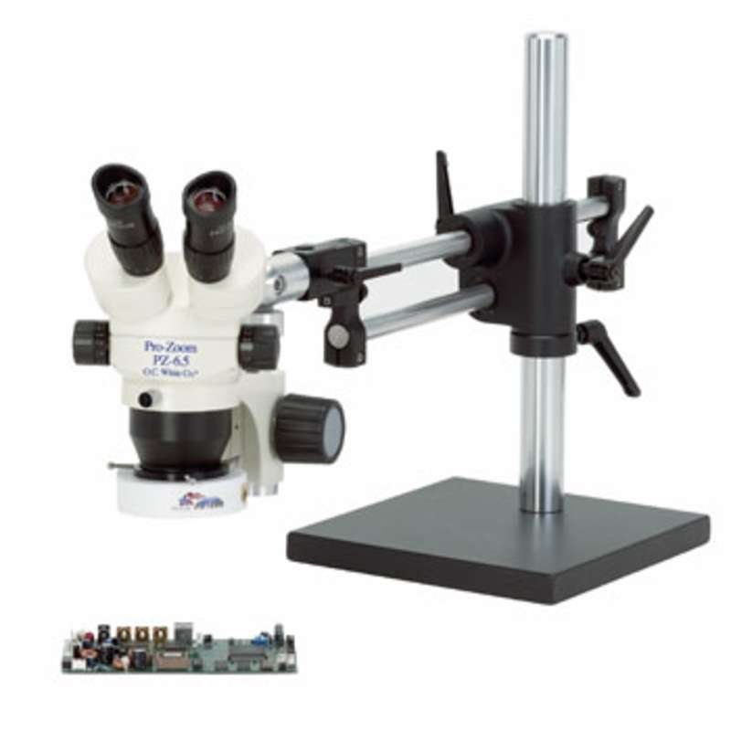 Pro-Zoom™ 6.5 ESD-Safe Binocular Microscope with Dual Arm Base and High-Output Fluorescent Bulb