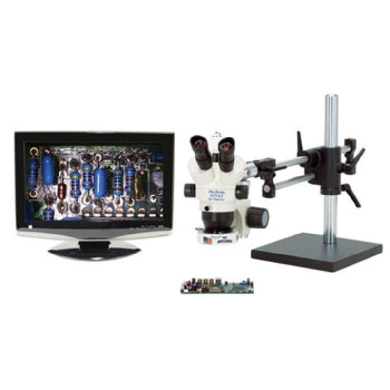 Pro-Zoom™ 6.5 Trinocular Video Inspection System with Dual Arm Base, No Light