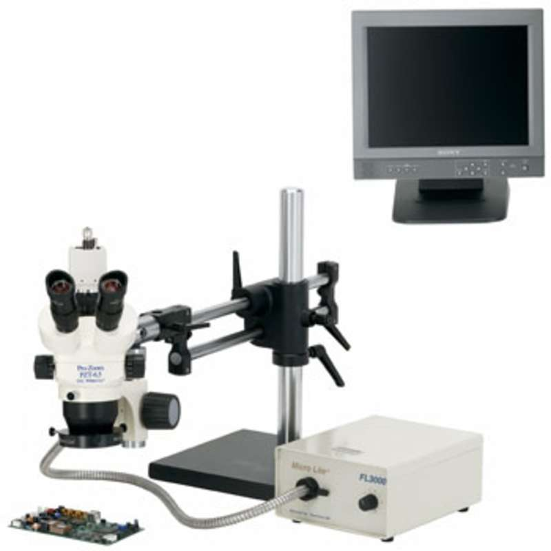 Pro-Zoom™ 6.5 ESD-Safe Trinocular Video Inspection System with Dual Arm Base and Fiber Optic Annular Light