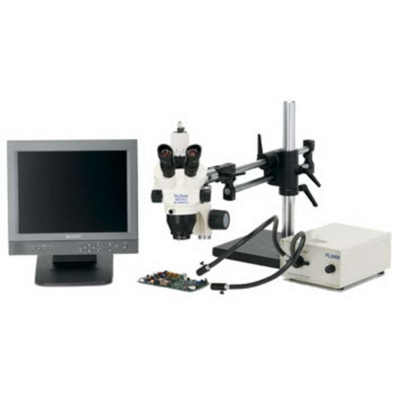 Pro-Zoom™ 6.5 Trinocular ESD-Safe Video Inspection System with Dual Arm Base and Fiber Optic Dual Point Light
