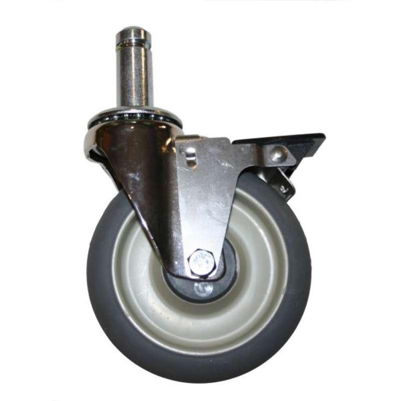 """High Modulus Rubber Swiveling Stem Caster Kit with Brakes, 5"""" Diameter"""