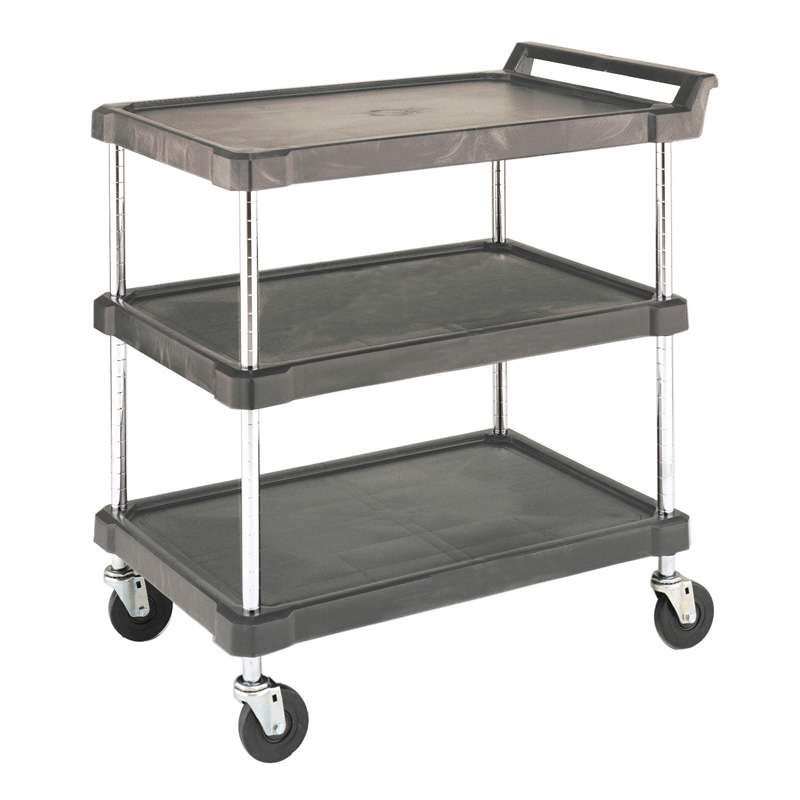 """Utility Cart with 3 Gray Polyethylene Shelves and Casters, 18"""" D x 28"""" L x 33-1/4"""" H"""