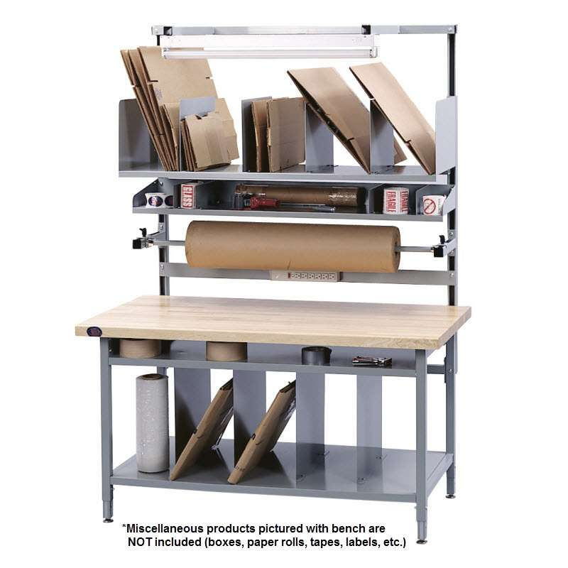 "Packaging Bench in a Box Kit Quick Ship Non-ESD with Grey Frame and Solid Maple Top, 96""H x 30""D x 60""L"