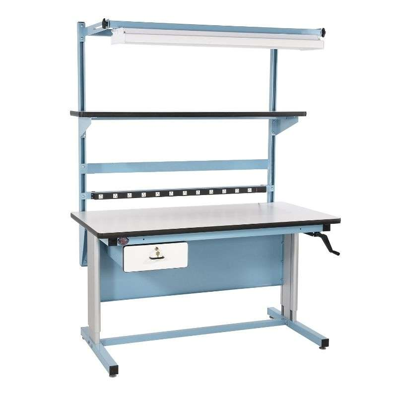 "Ergonomic Bench in a Box Kit Quick Ship Non-ESD with Light Blue Frame, 90"" x 30""D x 60""L"