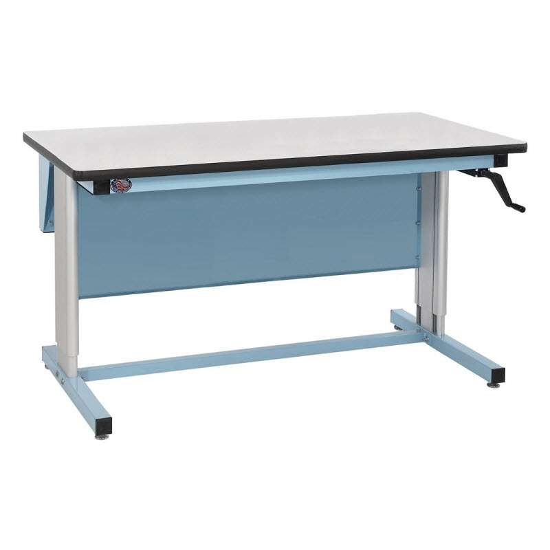 """Ergo-Line Series Quick Ship Non-ESD Workbench, 30""""D x 72""""L, Manual Crank Height Adjustment from 30"""" to 42"""""""