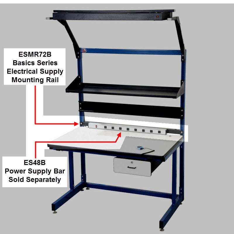 """Basic Series Quick Ship Option Power Supply Mounting Rail for 72"""" Bench"""