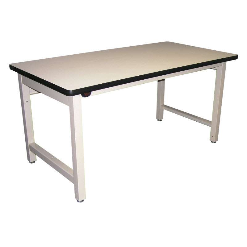 """Basic Workstation HD Model with White Plastic Laminate and Black T-Mold Edge, Light Gray Frame, 60""""L x 36""""w x 30""""H"""