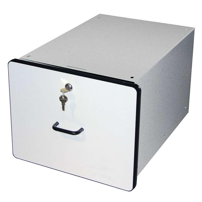 "Modular Drawer System 12""x15""x19.25"", White Plastic Laminate with Black T-Mold Edge"
