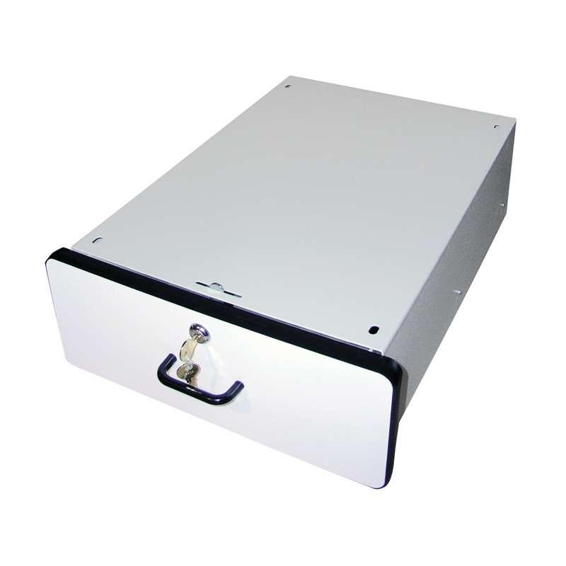"Modular Drawer System 6""x15""x19.25"", White Plastic Laminate with Black T-Mold Edge"