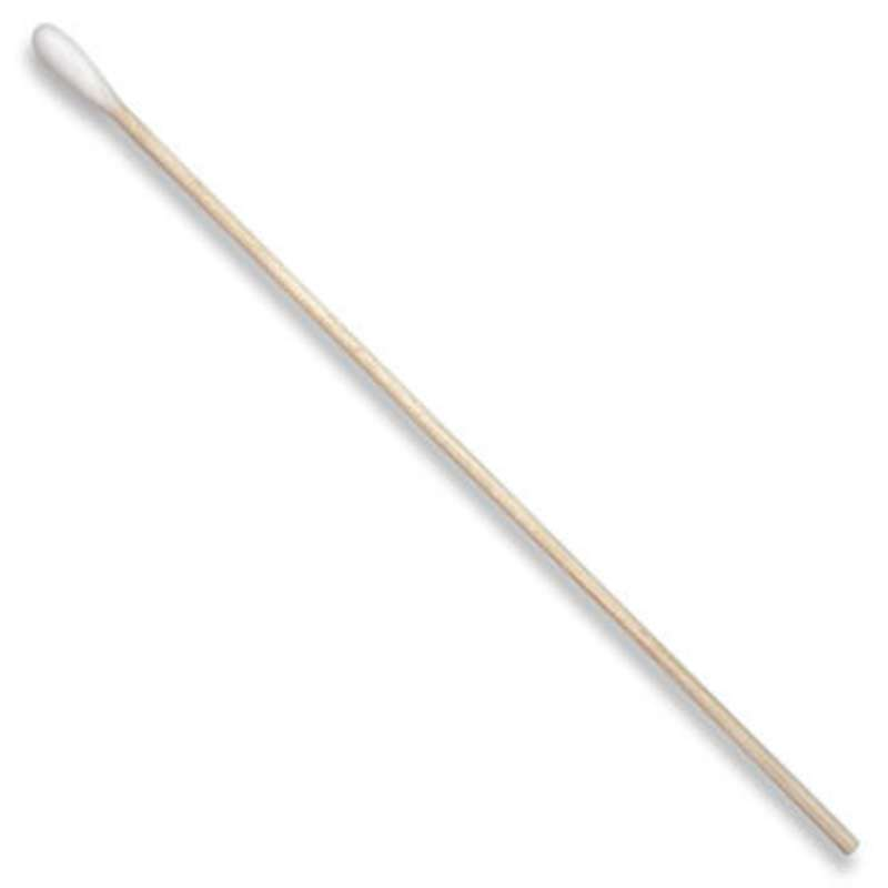 """Single-Head Cotton Swab with .19"""" Tip and Wood Handle, 6"""" Long, 100 per Bag"""