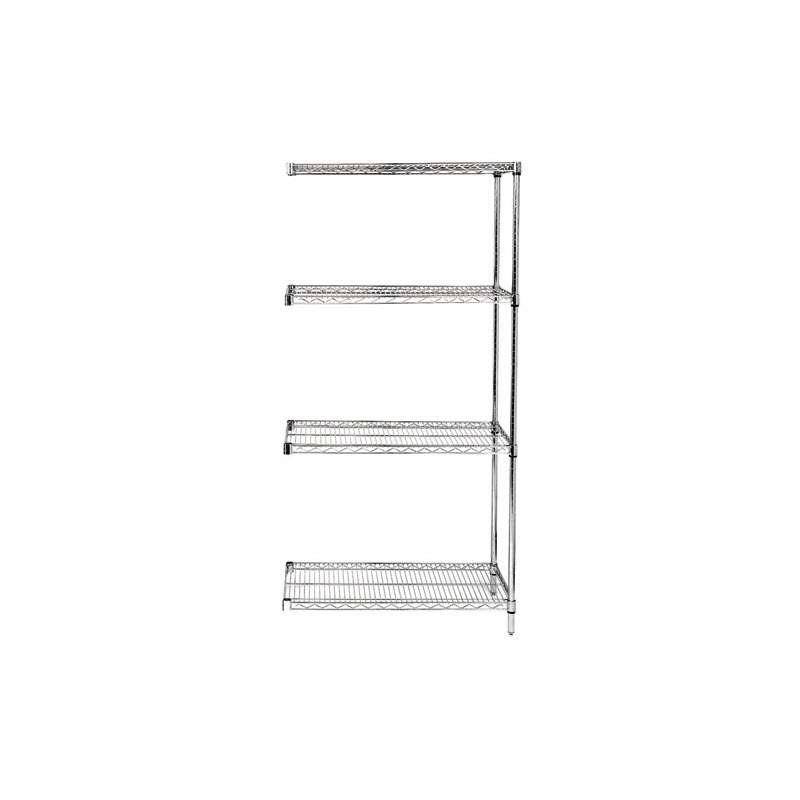Wire Shelving Unit, Add-On Kit, 4 Shelves 24in x 72in x 63in - Chrome