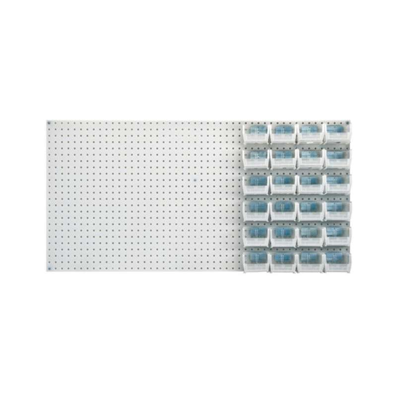Q-Peg Bin Kit, Clear, 4-3/4 x 3-7/16 x 2-13/16in, 24 Bins and Pegboard Clips