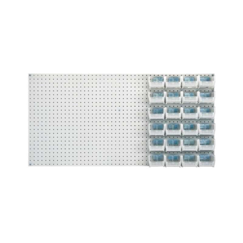Q-Peg Bin Kit, Clear, 4-3/4 x 3-7/16 x 2-13/16in, 24 Bins and Pegboard Clips