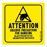 "Yellow/Black ""Attention Electrostatic Sensitive Devices"" Label, 2 x 2"", 500 per Roll"