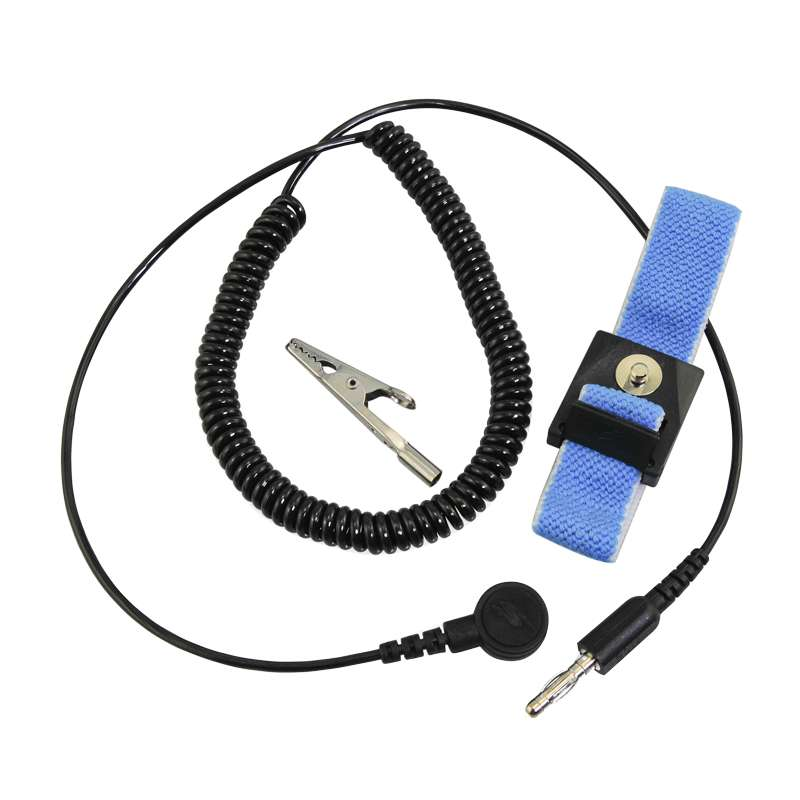 ESD-Safe Adjustable Wrist Strap with 4mm Snap and 6' Cord, Blue and White