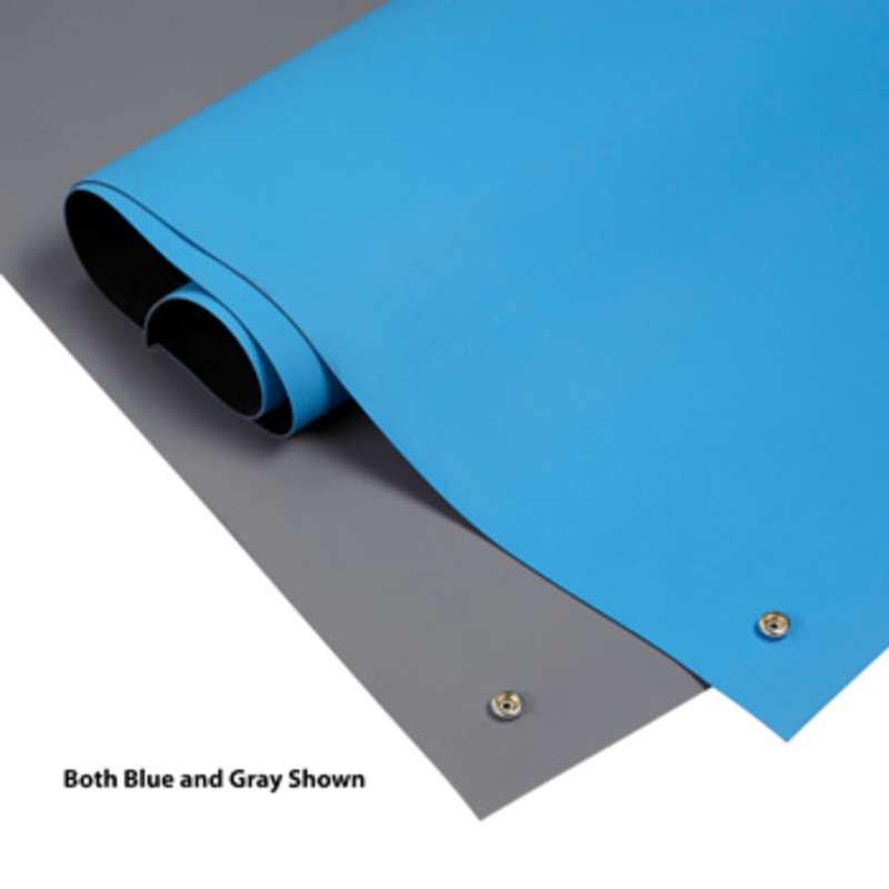 """6800 Series 2-Layer Diss/Cond Smooth Rubber Worktop Roll with Snaps, Grey/Black, 24"""" x 50' x .065"""""""