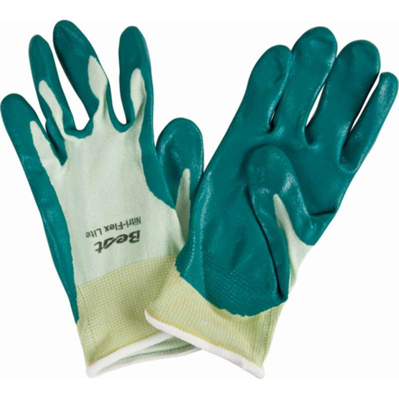Nitri-Flex® Lite Green General Purpose Gloves with Smooth Green Nitrile Coated Palm and Fingers, 1 Pair, X-Small