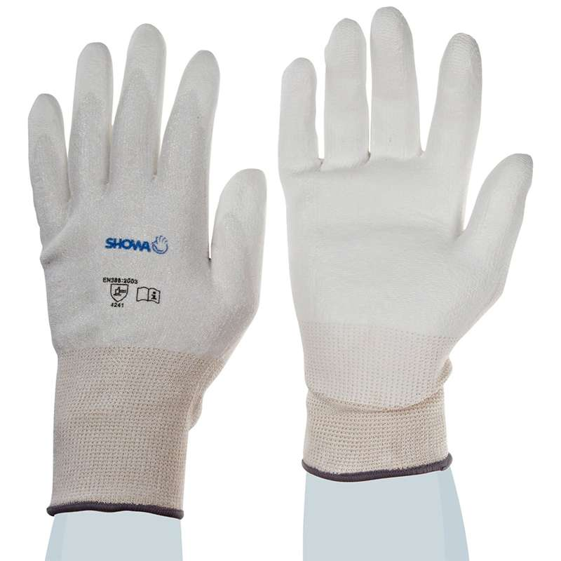 Hi-Tech White Level 2 Cut Resistant Gloves with Smooth White Polyurethane Coated Palm and Fingers, 1 Pair, Medium
