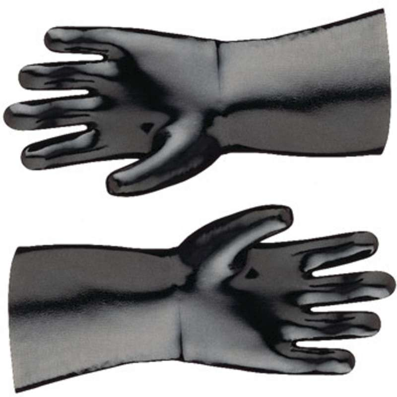 "Best® Neoprene Black Chemical Resistant Gloves with 14"" Gauntlet and Cotton Liner, 1 Pair, Large"