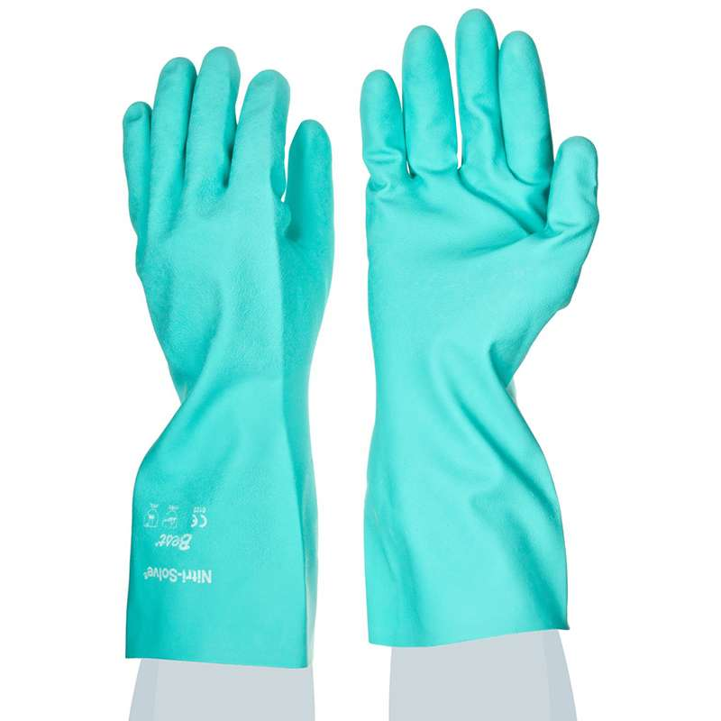 "Nitri-Solve® 15mil Flock-Lined Teal Chemical Resistant Gloves, Large, 13"" Long, 12 Pair per Pack"