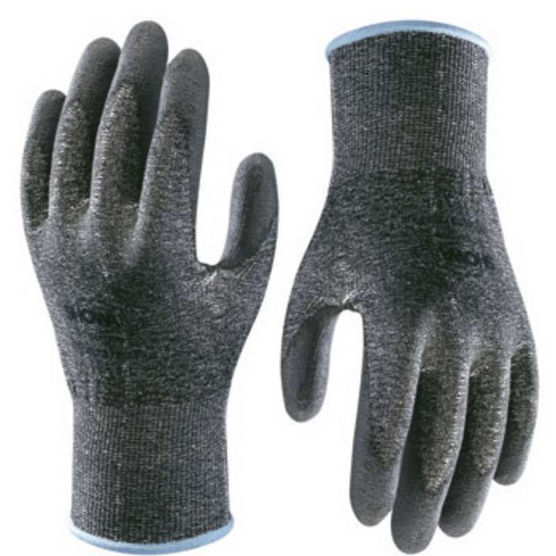 Hi-Tech Black Level 2 Cut Resistant Gloves with Smooth Grey Polyurethane Coated Palm and Fingers, 1 Pair, X-Large