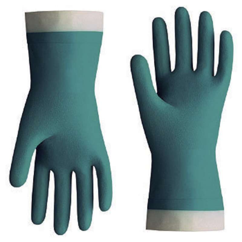"Nitri-Solve® 15mil Flock-Lined Teal Chemical Resistant Gloves, Small, 13"" Long, 12 Pair per Pack"