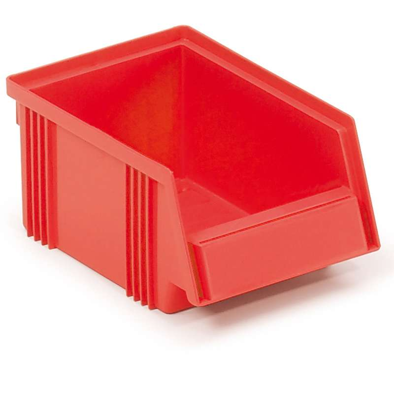 "Stacking Bin - RED - 6.49""Dx4.13""Wx2.95""H O.D., Case of 60 Bins"