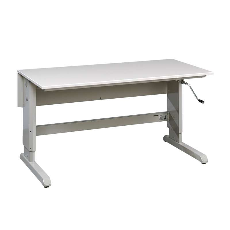 """Concept™ Series Non-ESD Hand Crank Work Table Frame With Grey Laminate Work Surface 30""""D x 60""""W"""