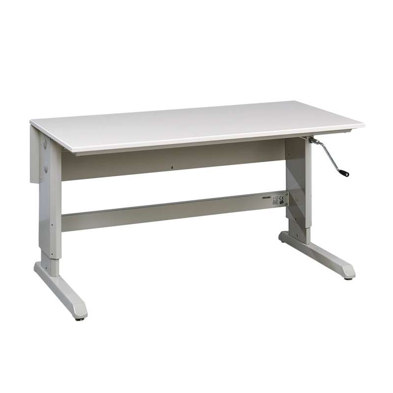 "Concept™ Series Non-ESD Hand Crank Work Table Frame With Grey Laminate Work Surface 30""D x 48""W"