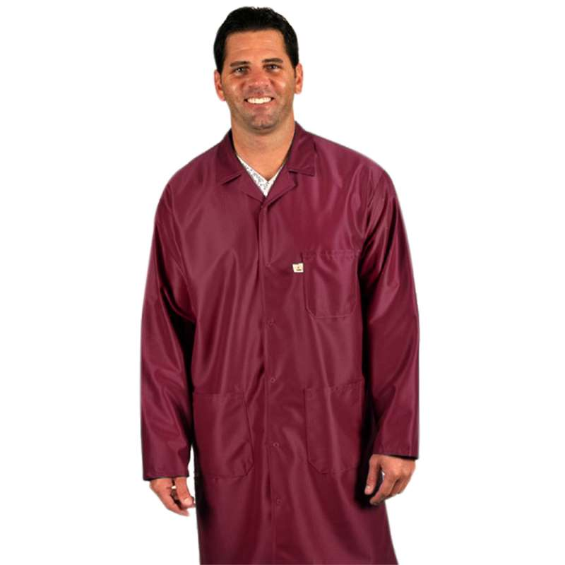 "Traditional, ESD-Safe 40"" Length Coat, IVX-400, Burgundy, 3X-Large"