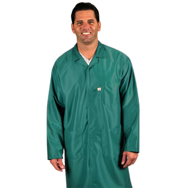 """ESD-Safe Traditional Coat in IVX-400 Material, Green, Small, 38"""" Long"""