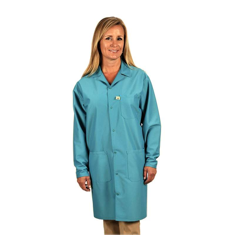 "Traditional, ESD-Safe 40"" Length Coat, IVX-400, Teal, X-Large"