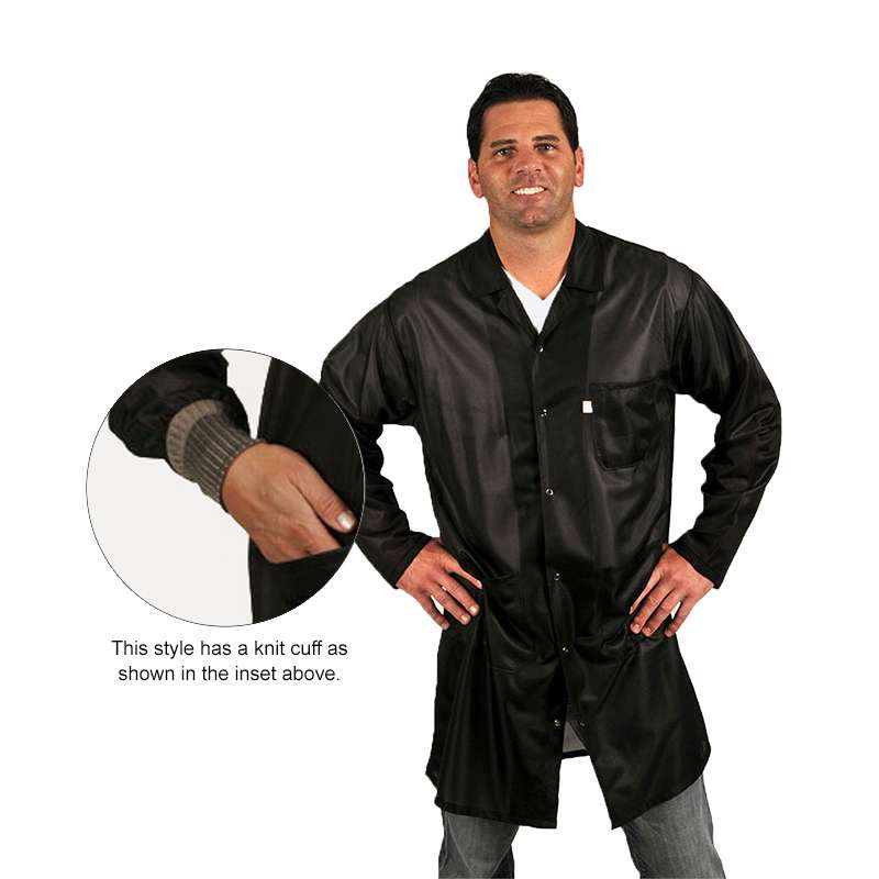"""ESD-Safe Traditional Style Lapel Coat in OFX-100 Material with Cuffs, Black, Large, 39"""" Long"""