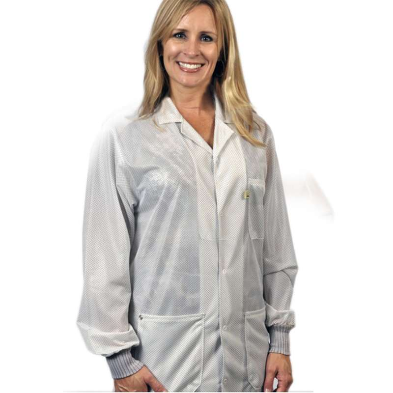 """ESD-Safe Traditional Lapel Jacket with Cuffs in OFX-100 Material, White, Medium, 32"""" Long"""