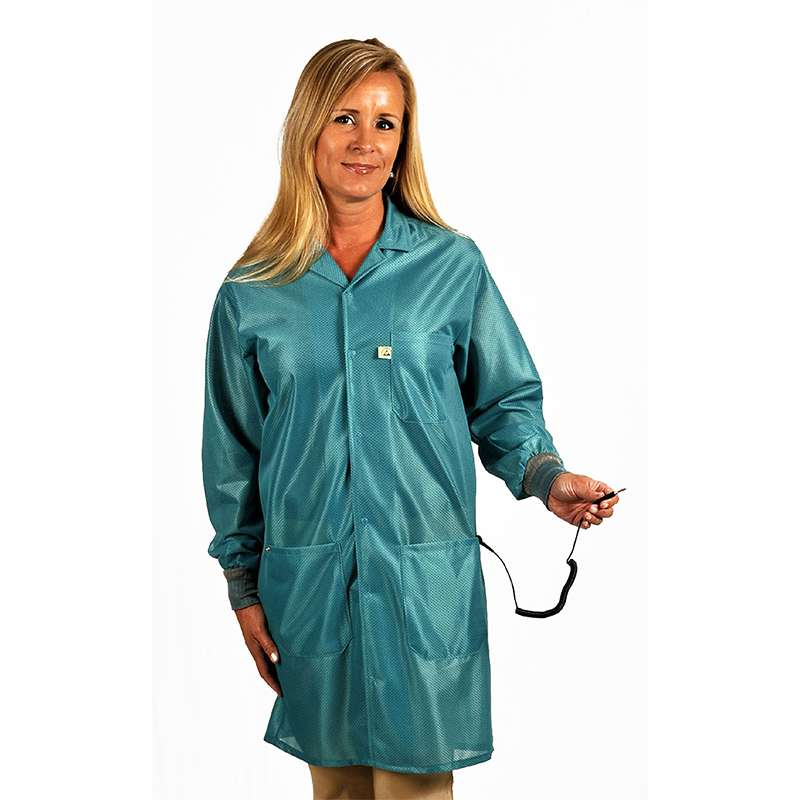 """ESD-Safe Traditional Lapel Jacket in OFX-100 Material with Cuffs, Teal, 2X-Large, 32"""" Long"""