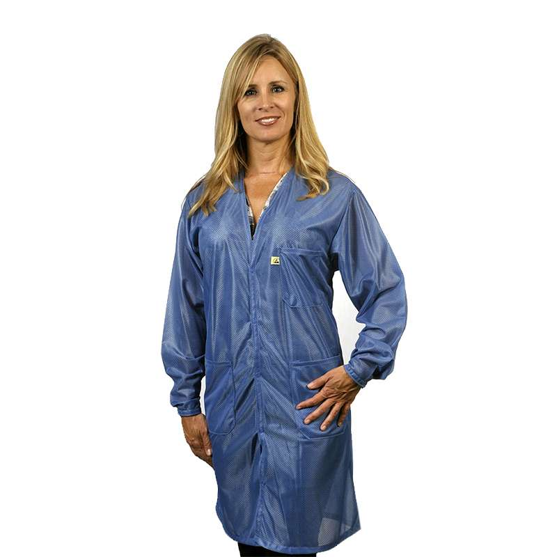 "ESD-Safe Traditional V-Neck Coat in OFX-100 Material, Hi-Tech Blue, Large, 40"" Long"