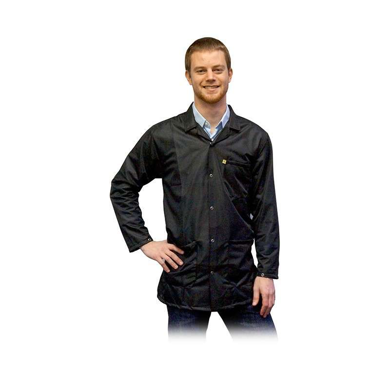 "ESD-Safe Light Weight Jacket, Black, Large, 31-1/2"" Long"