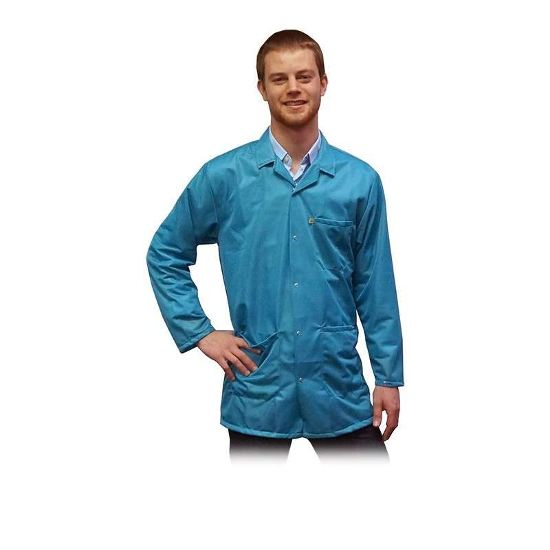 "ESD-Safe Light Weight Jacket, Teal, 4X-Large 31-1/2"" Long"