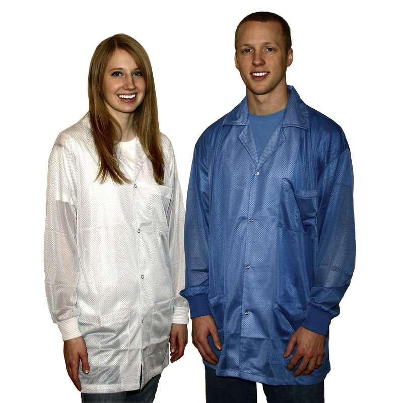 "ESD-Safe Light Weight Jacket Knit Cuff White, XL, 31.5"""