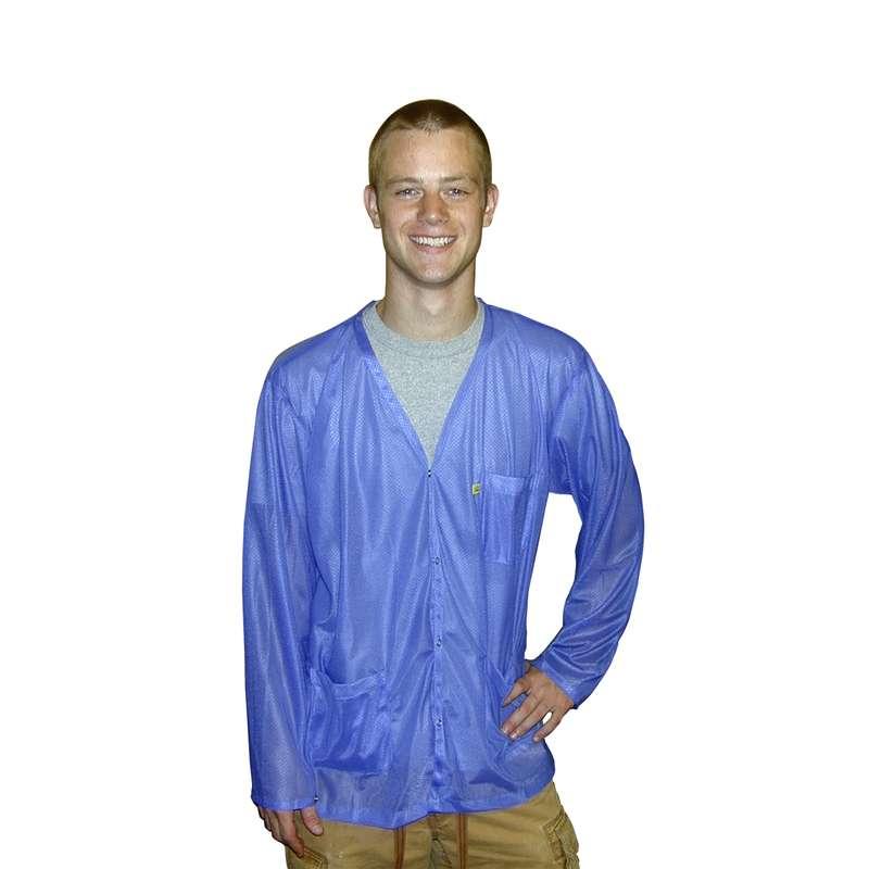 "ESD-Safe V-Neck Light Weight Jacket Knit Cuff, Light Blue, Large, 31.5"""