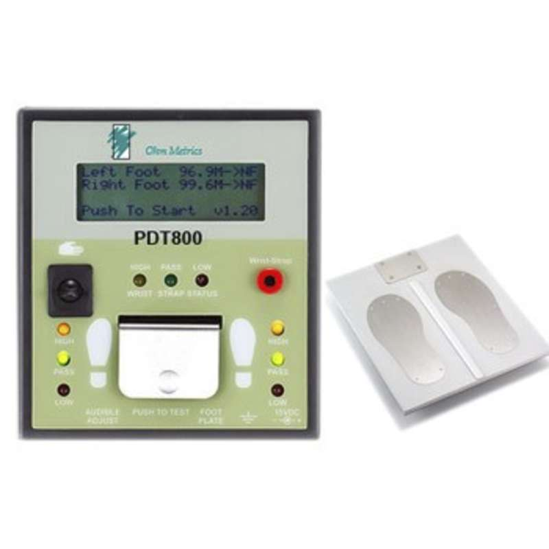 "Ohm Metrics, Deluxe ""Near-Fail"" Combo Tester Stand, Wrist Strap and Foot Plate with LCD Display,120 V"