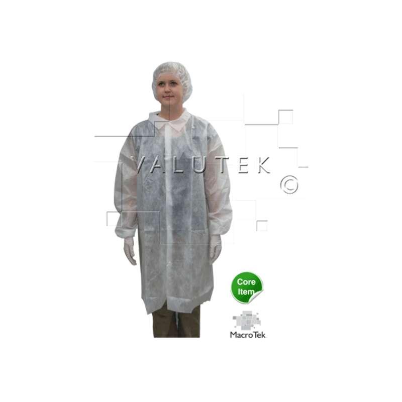 Macro Tek® Cleanroom Disposable Lightweight Polypropylene Lab Coats, White, 4X-Large, 10 per Package