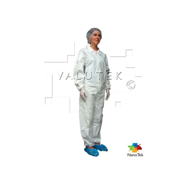 Nano Tek® Cleanroom Disposable Microporous Coverall with Elastic Cuff and Ankle, Zippered Closure, White, Medium, 5 per Package